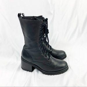 SteveMadden Black Combat Military Moto Boot Strata